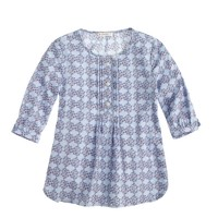 Girls' pleated bib tunic in floral medallion