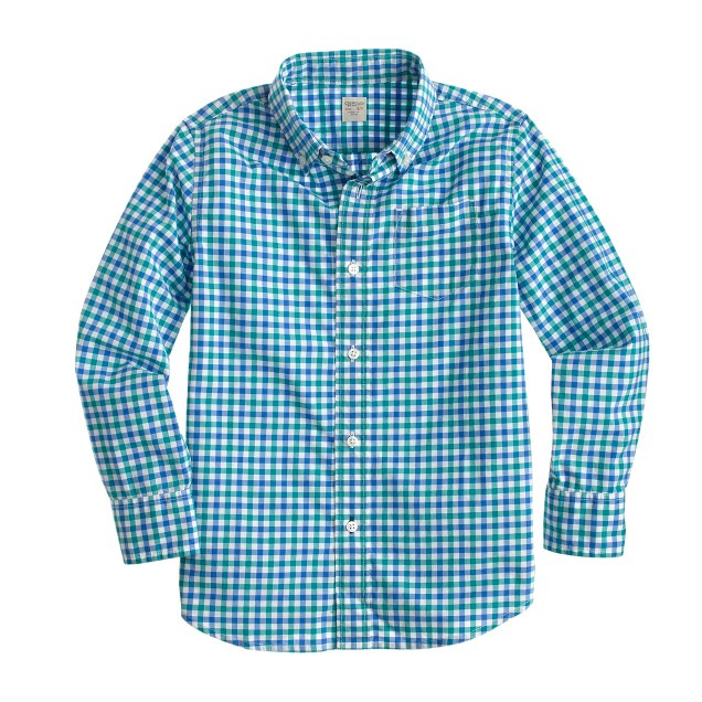 Boys' Secret Wash shirt in turquoise cove check