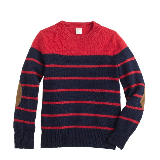 Boys' rustic merino elbow-patch sweater in stripe