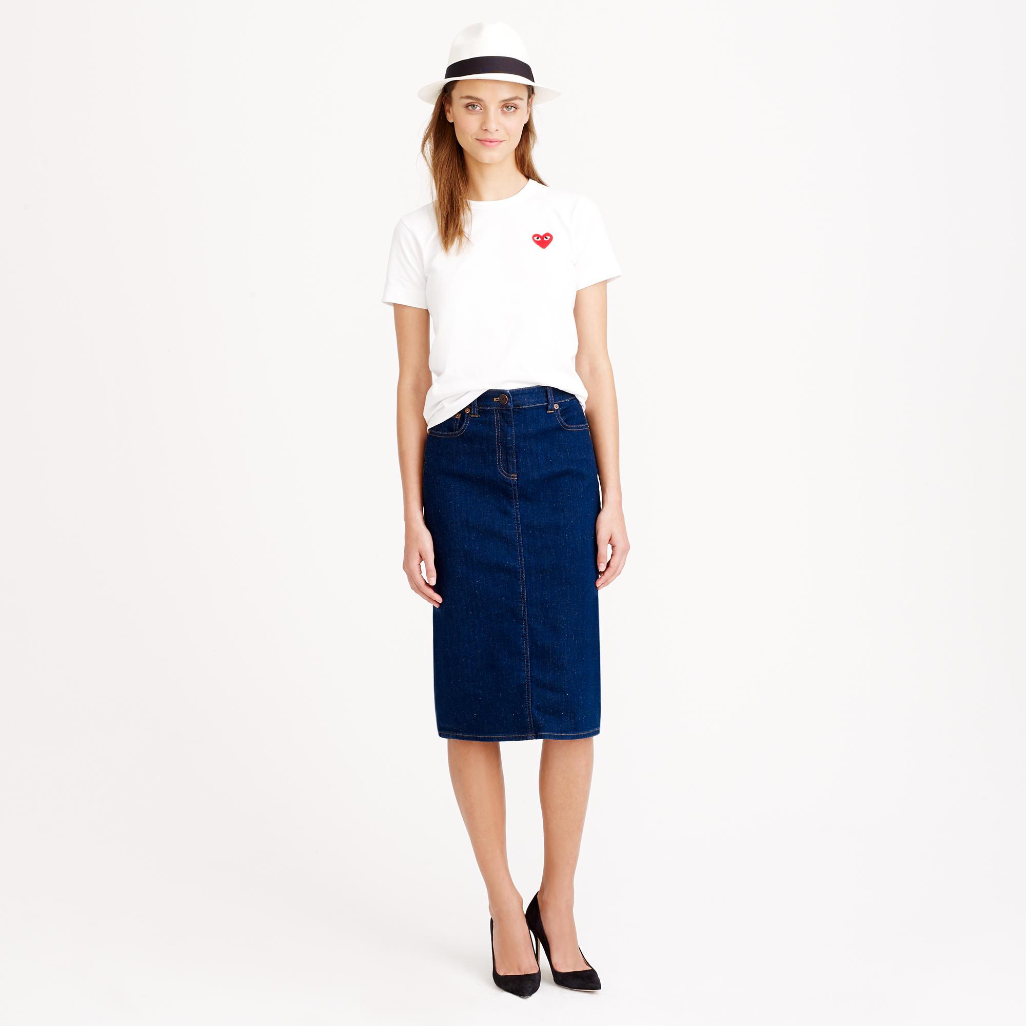 Dark wash denim pencil skirt : | J.Crew