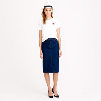 Dark wash denim pencil skirt