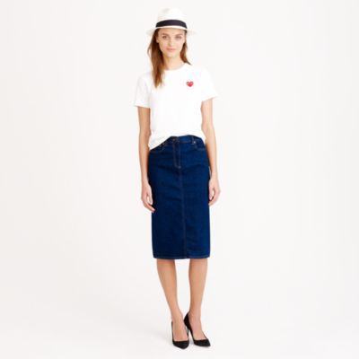 wash denim pencil skirt j crew