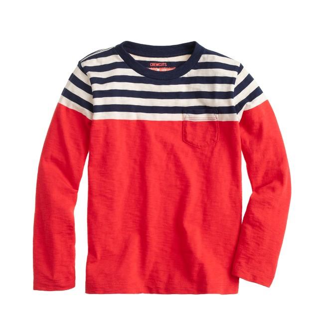 Boys' ringer T-shirt in colorblock stripe
