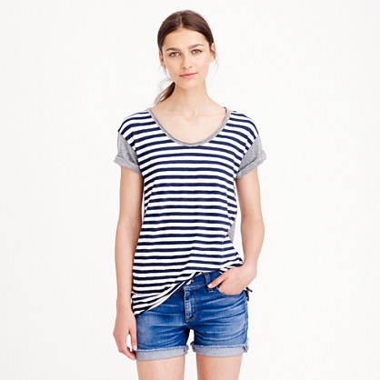 Vintage cotton colorblock stripe T-shirt