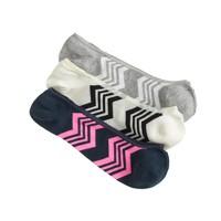 Zigzag no-show socks three-pack