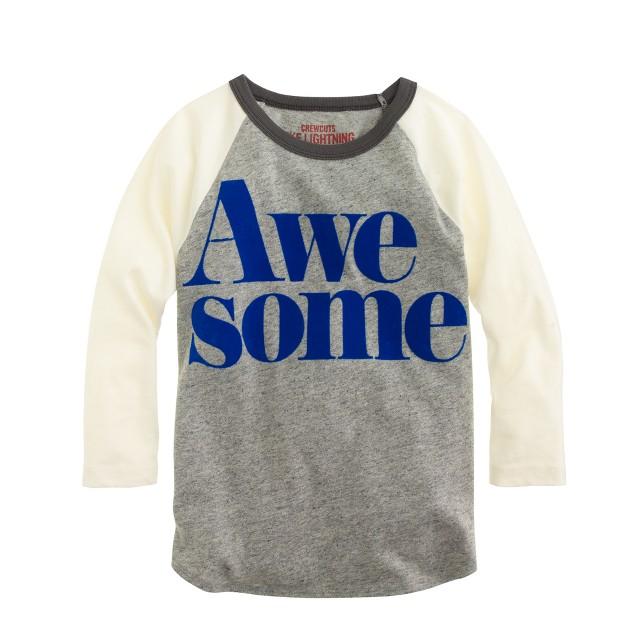 Boys' three-quarter sleeve awesome T-shirt