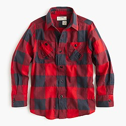 Boys' flannel shirt in buffalo check