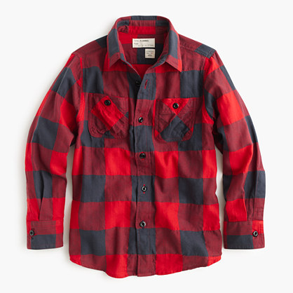 Boys' flannel shirt in buffalo check