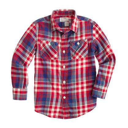 Boys' flannel shirt in cerise plaid