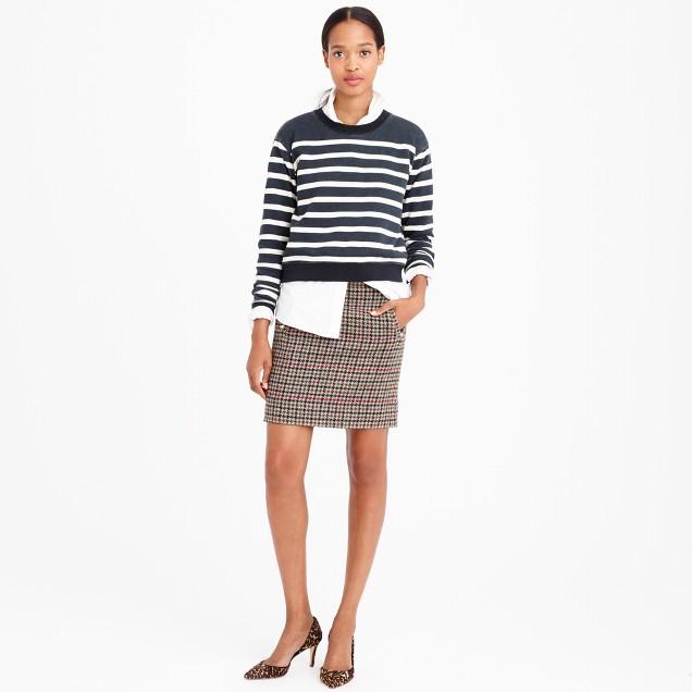 Zip-pocket mini skirt in tweed