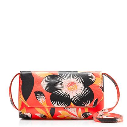 Hibiscus-print crossbody bag