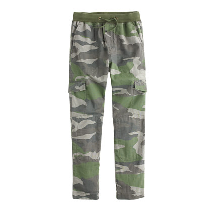 Boys' slim slouchy pull-on cargo pant in camo