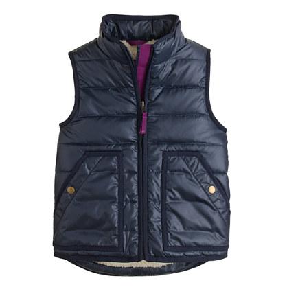Girls' shiny puffer vest