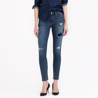 Toothpick jean in destructed miller wash