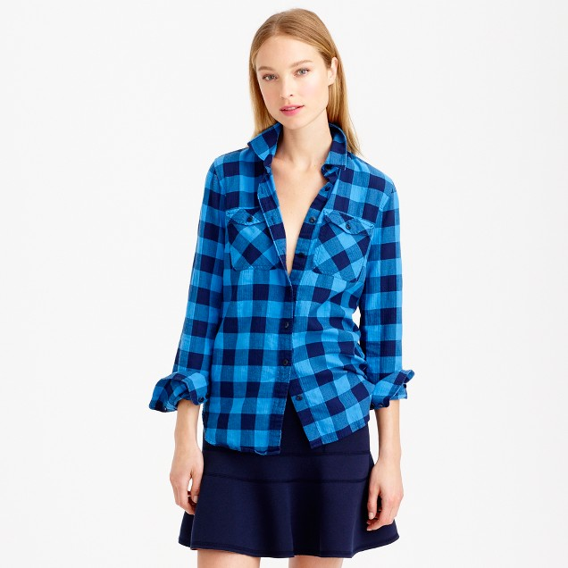 Flannel shirt in brilliant sea check