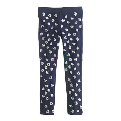 Girls' everyday leggings in glitter daisy