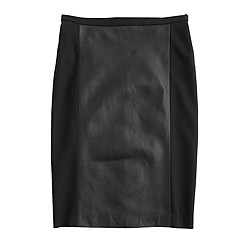 Collection leather-panel pencil skirt