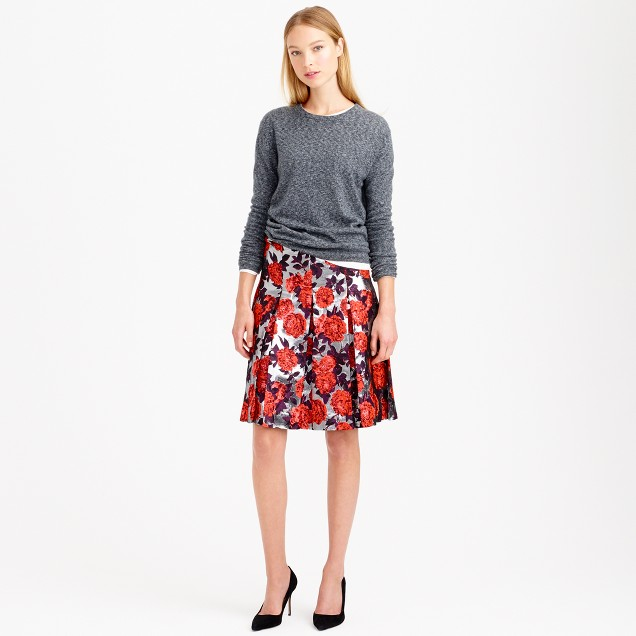 Collection metallic floral jacquard skirt
