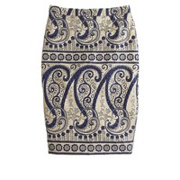 petite Collection gilded paisley pencil skirt