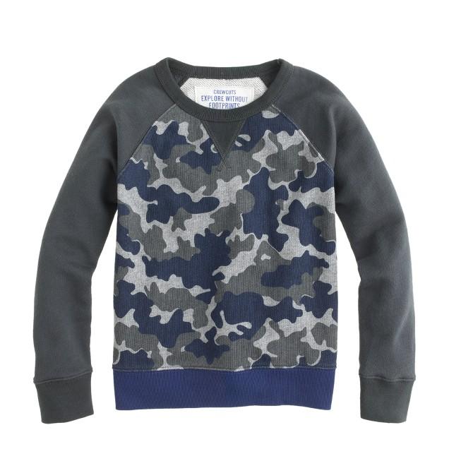 Boys' baseball sweatshirt in camo