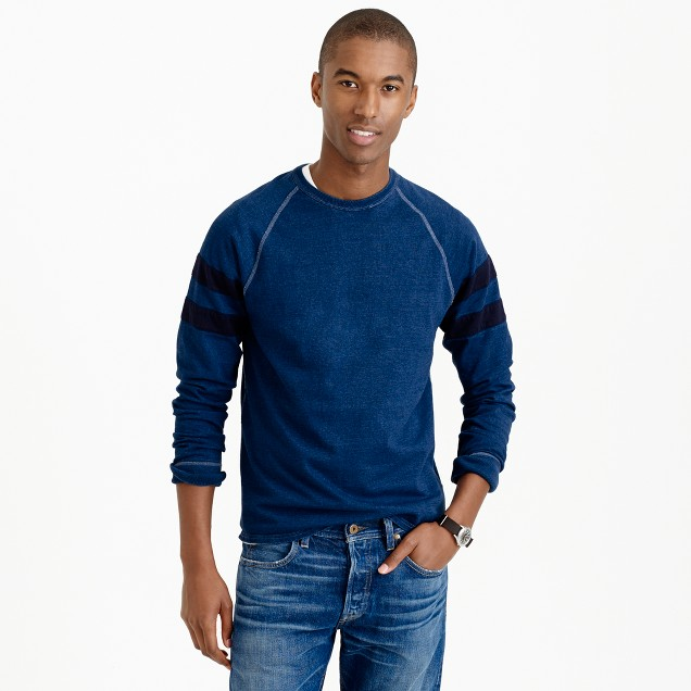 Long-sleeve indigo heavyweight T-shirt