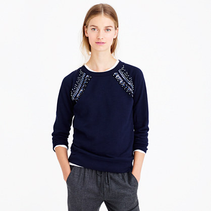 Jeweled raglan sweatshirt