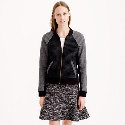 Leather-trim mixed bomber jacket