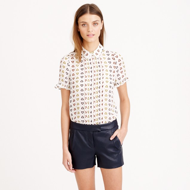 Collection ruffle pintuck blouse in heart dot