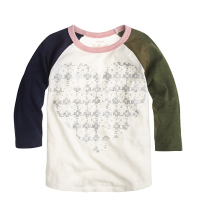 Girls' metallic heart baseball T-shirt