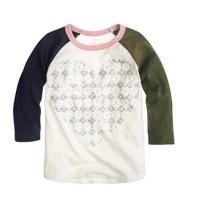 Girls' metallic heart baseball T-shirt