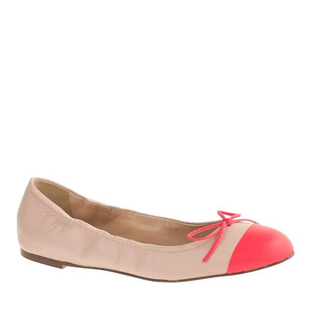 Emma cap-toe bow ballet flats