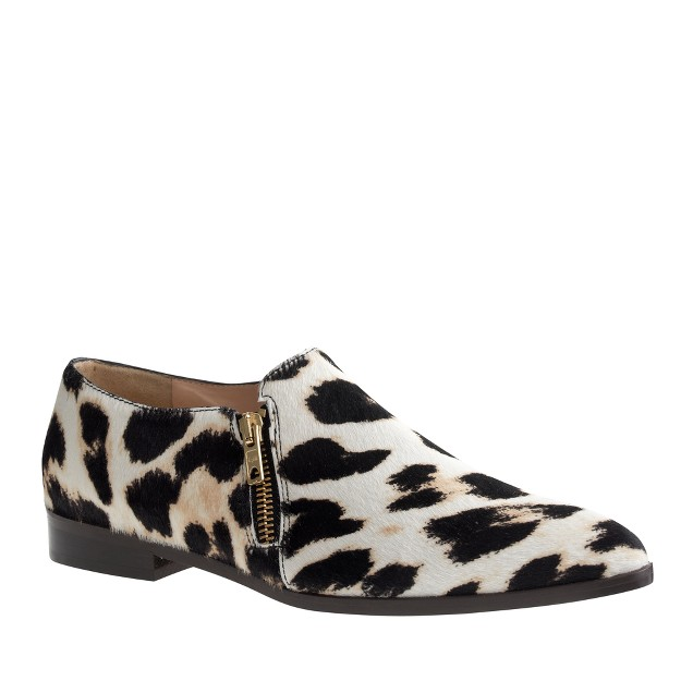 Collection calf hair double-zip loafers