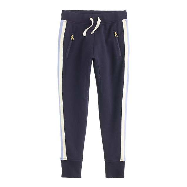 Girls' skinny zip sweatpant in side stripe