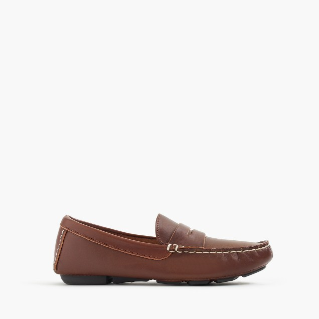 Kids' leather penny loafer driving mocs