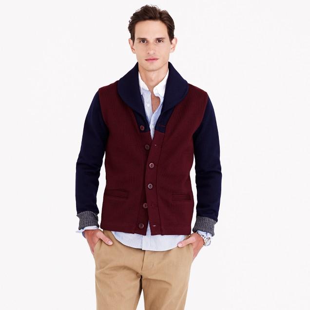 Dehen® for J.Crew shawl-collar cardigan sweater in maroon colorblock wool