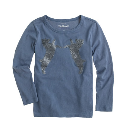 Girls' long-sleeve glitter puppies T-shirt