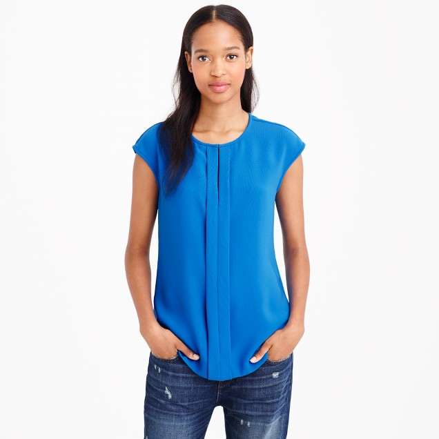Tall crepe cap-sleeve top