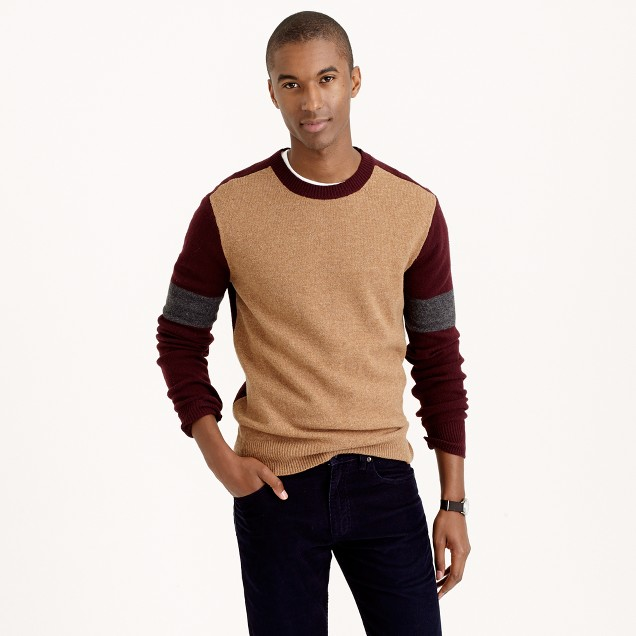 Lambswool sweater in varsity colorblock