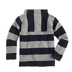 Girls' funnelneck cashmere sweater in stripe