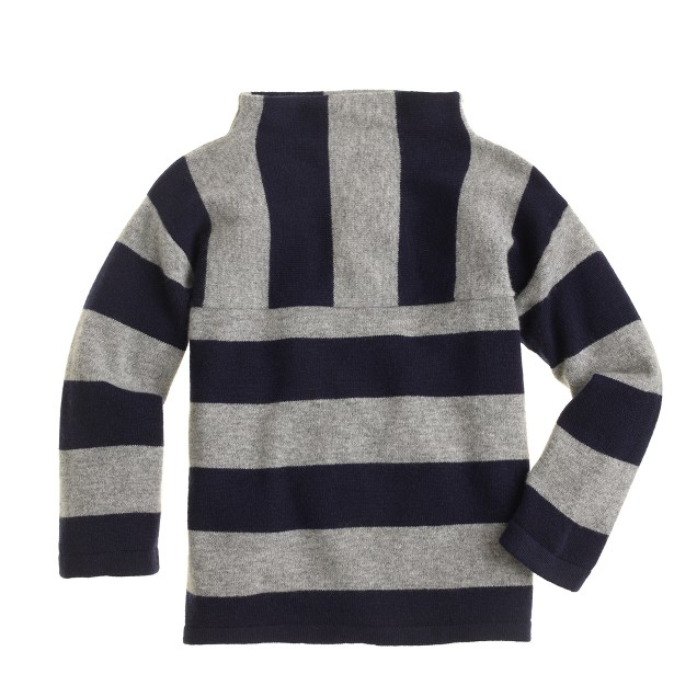 Girls' funnelneck cashmere sweater in stripe