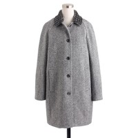 Collection herringbone coat with beaded collar