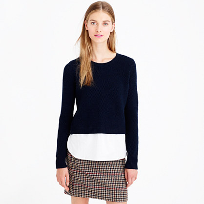 Lambswool shirttail sweater in white