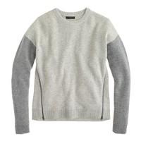 Lambswool zip sweater in colorblock