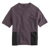 Merino wool leather-pocket T-shirt