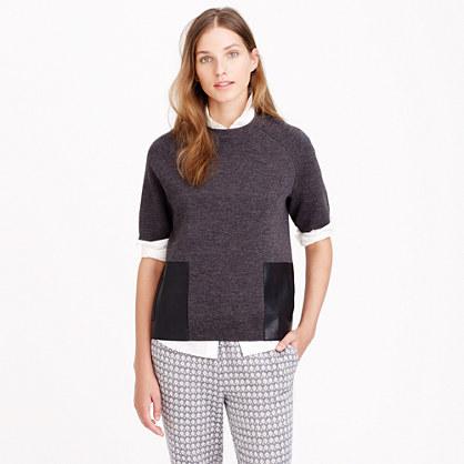 Merino wool leather-pocket T-shirt
