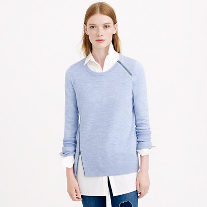 Merino wool asymmetrical zip sweater