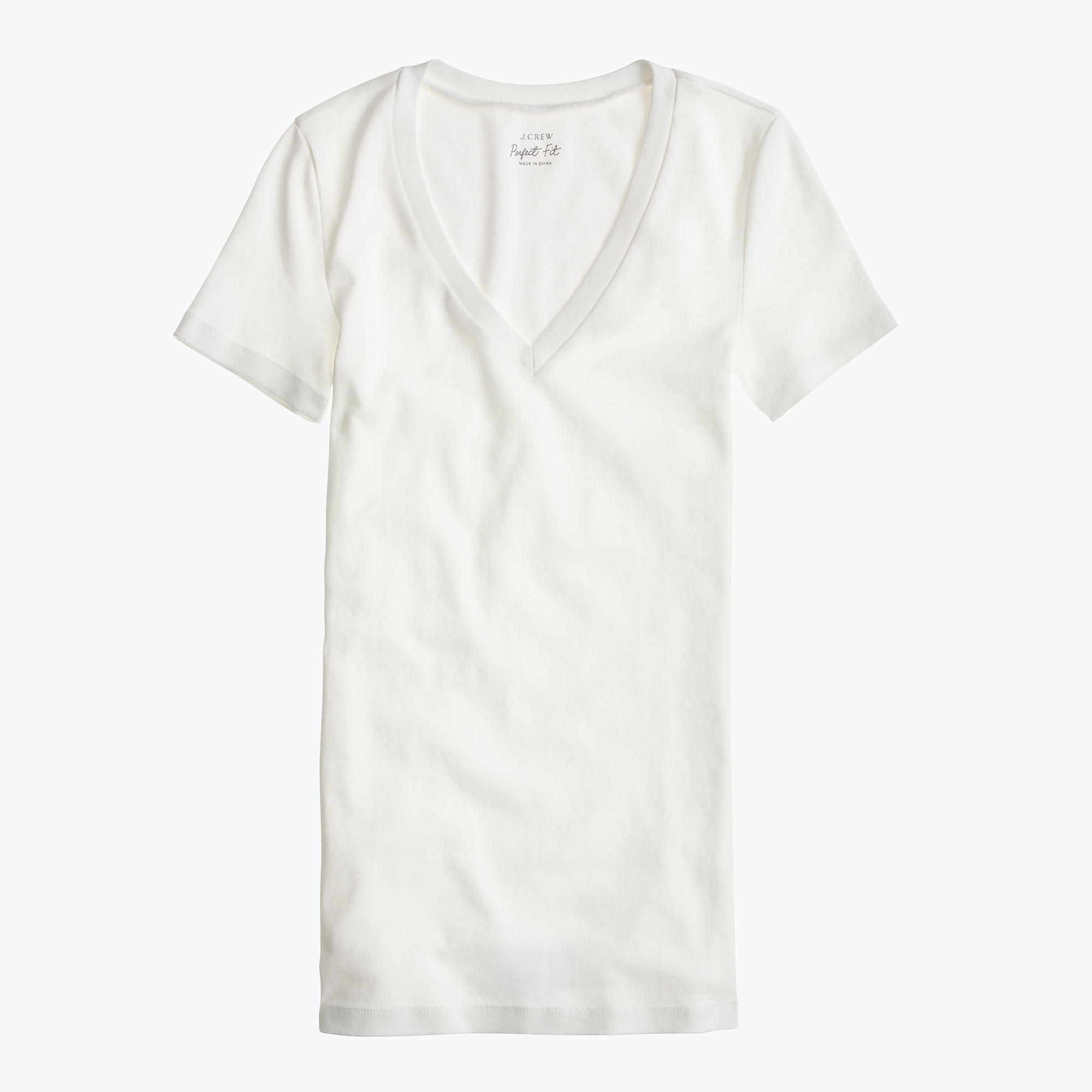 T shirt white black -  Perfect Fit V Neck T Shirt