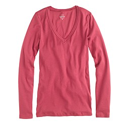 Perfect-fit long-sleeve V-neck T-shirt