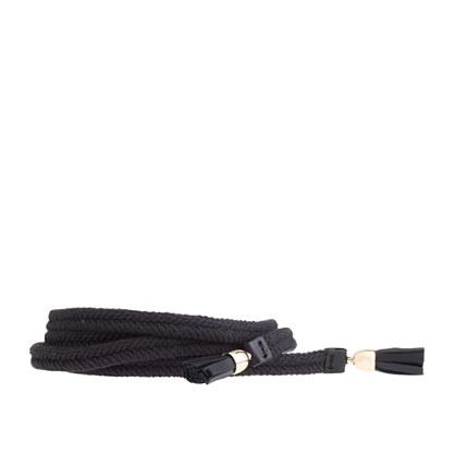 Tasseled woven tie belt