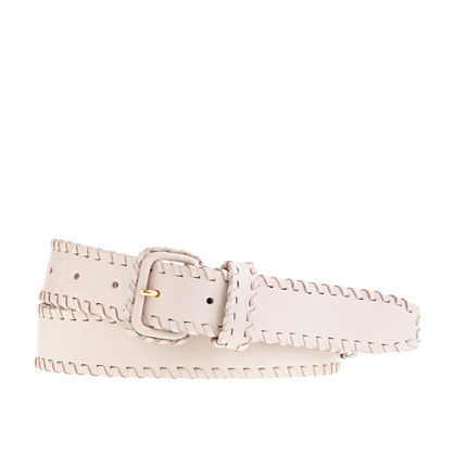 Woven-trim leather belt